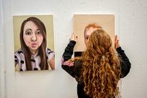 WVU hanging art